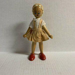 Vintage 1940s Wooden Peg Doll Tourist Souvenir